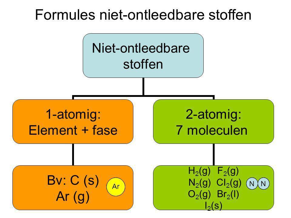 Formules niet-ontleedbare stoffen