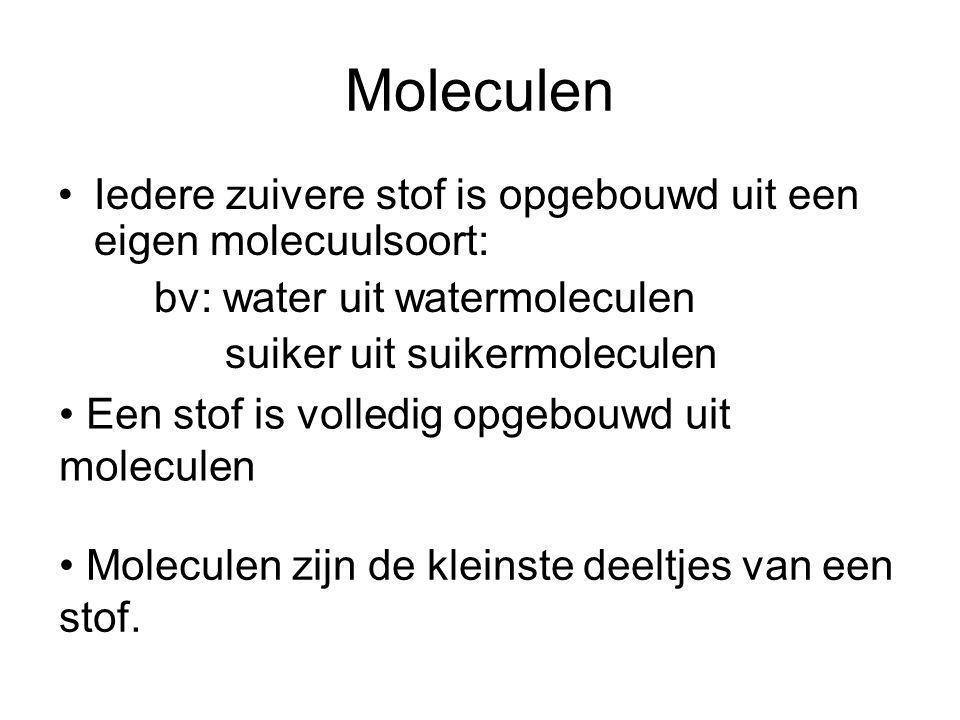 Moleculen Iedere zuivere stof is opgebouwd uit een eigen molecuulsoort: bv: water uit watermoleculen.
