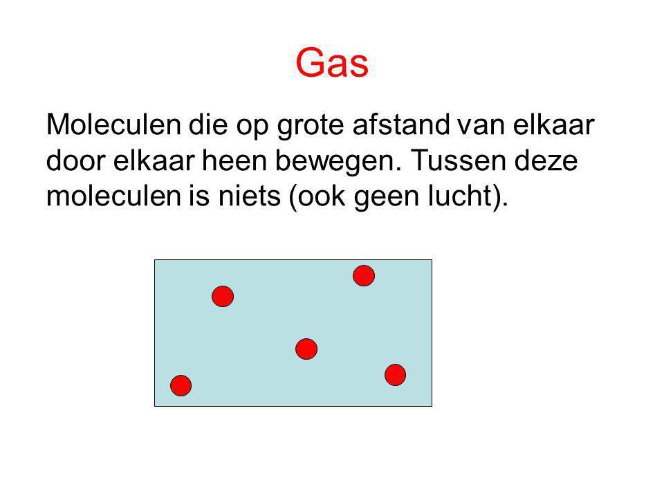 Gas Moleculen die op grote afstand van elkaar door elkaar heen bewegen.