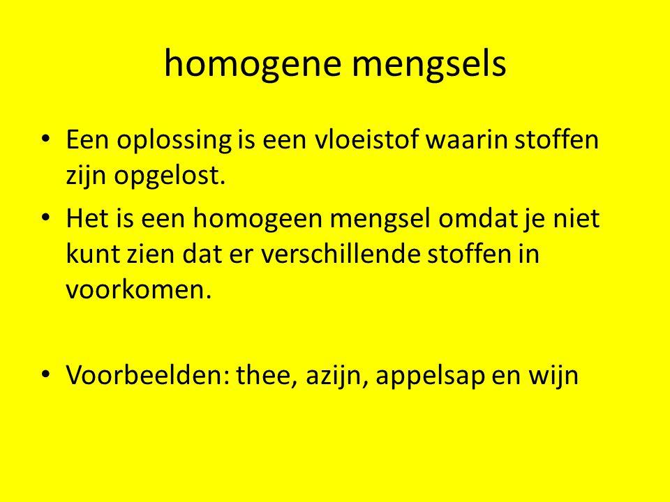 homogene mengsels Een oplossing is een vloeistof waarin stoffen zijn opgelost.