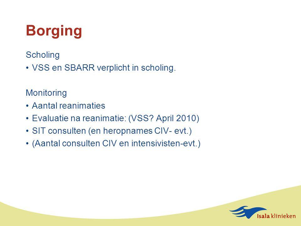 Borging Scholing VSS en SBARR verplicht in scholing. Monitoring