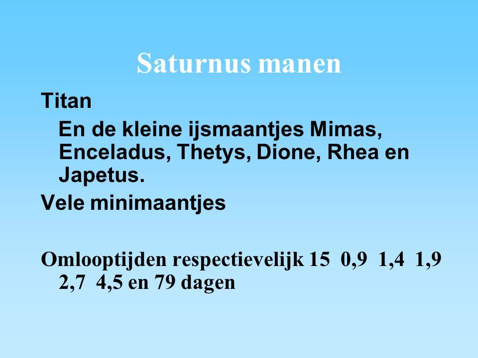 Saturnus manen Titan. En de kleine ijsmaantjes Mimas, Enceladus, Thetys, Dione, Rhea en Japetus. Vele minimaantjes.