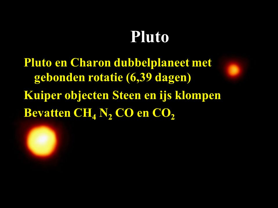 Pluto Pluto en Charon dubbelplaneet met gebonden rotatie (6,39 dagen)