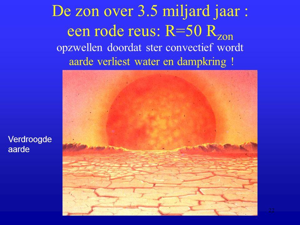 De zon over 3.5 miljard jaar : een rode reus: R=50 Rzon opzwellen doordat ster convectief wordt aarde verliest water en dampkring !