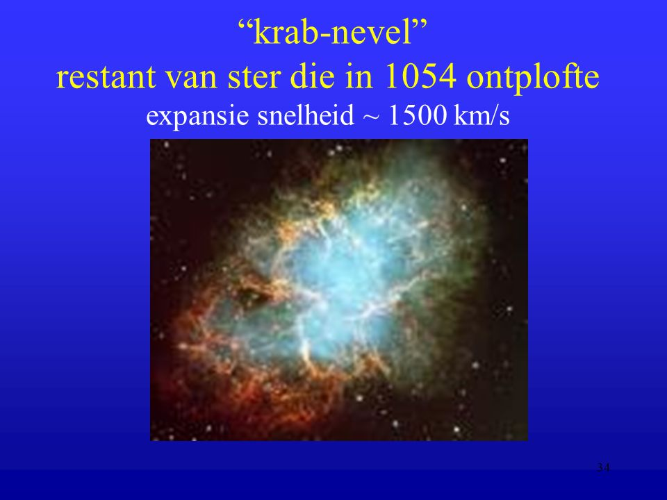 krab-nevel restant van ster die in 1054 ontplofte expansie snelheid ~ 1500 km/s