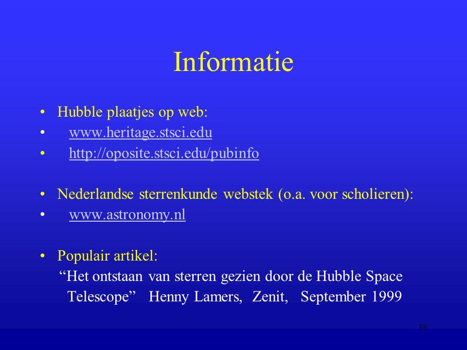 Informatie Hubble plaatjes op web: