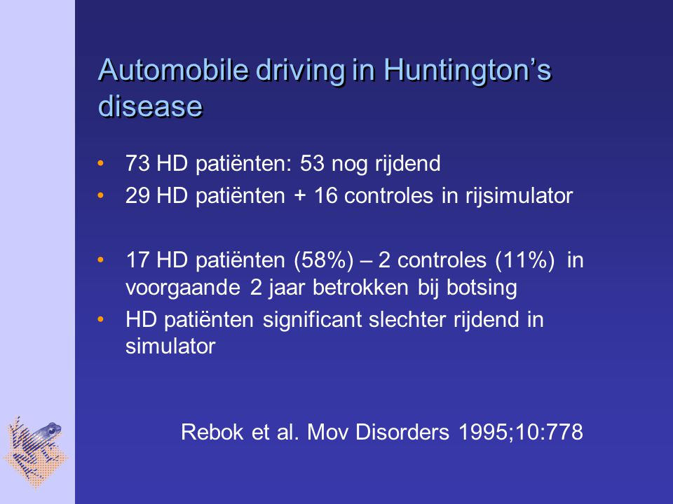Automobile driving in Huntington's disease