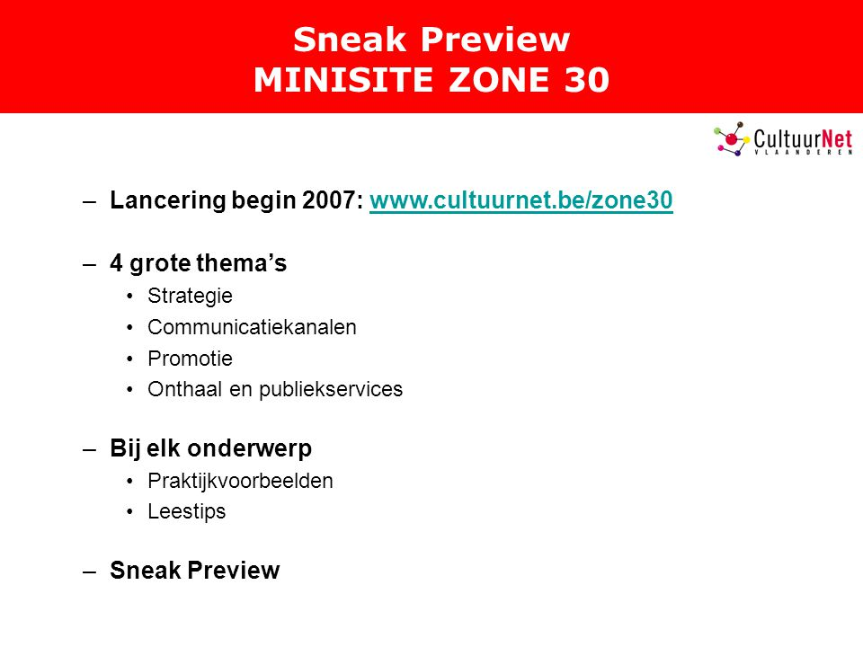 Sneak Preview MINISITE ZONE 30