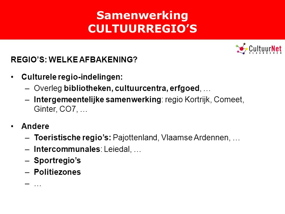 Samenwerking CULTUURREGIO'S