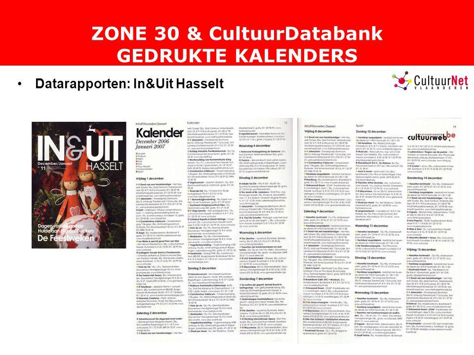 ZONE 30 & CultuurDatabank GEDRUKTE KALENDERS