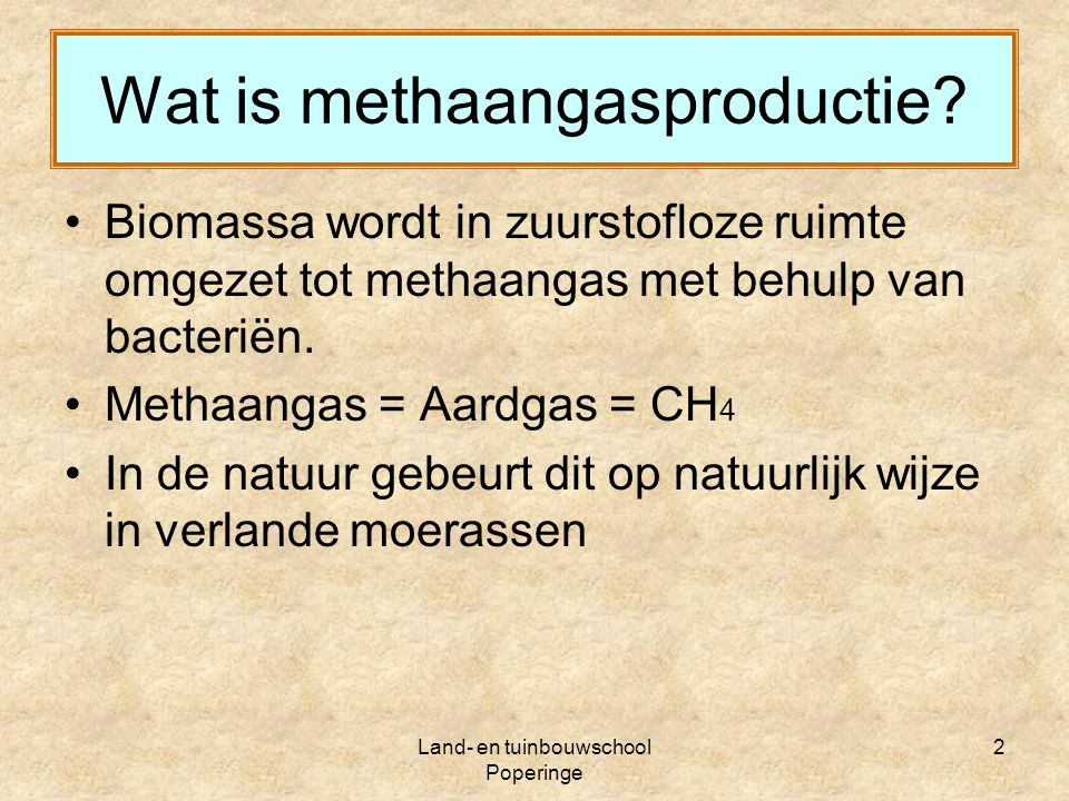 Wat is methaangasproductie