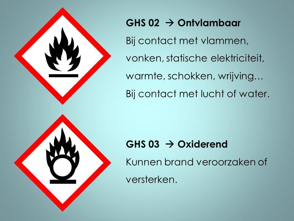 GHS 02  Ontvlambaar Bij contact met vlammen, vonken, statische elektriciteit, warmte, schokken, wrijving…