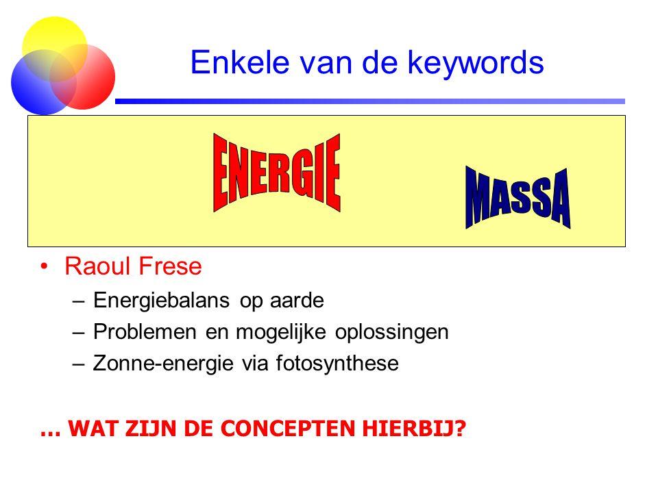Enkele van de keywords ENERGIE MASSA Jo van den Brand Raoul Frese