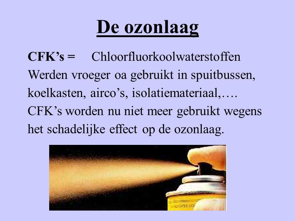 De ozonlaag CFK's = Chloorfluorkoolwaterstoffen