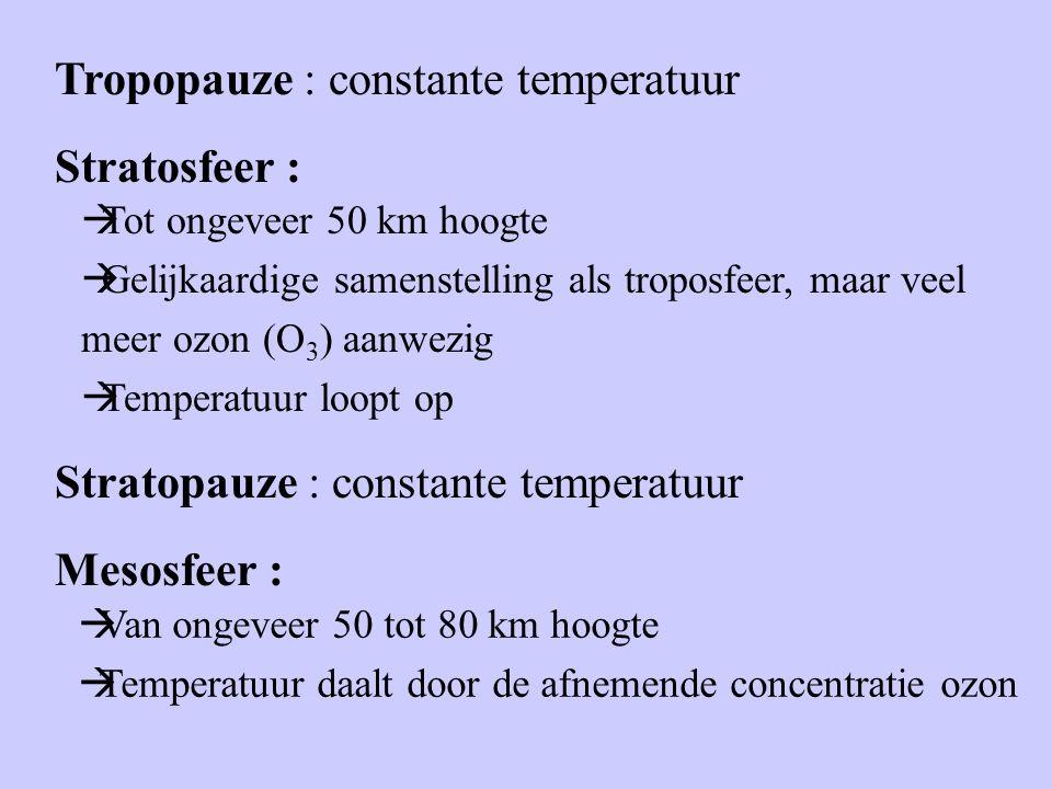 Tropopauze : constante temperatuur