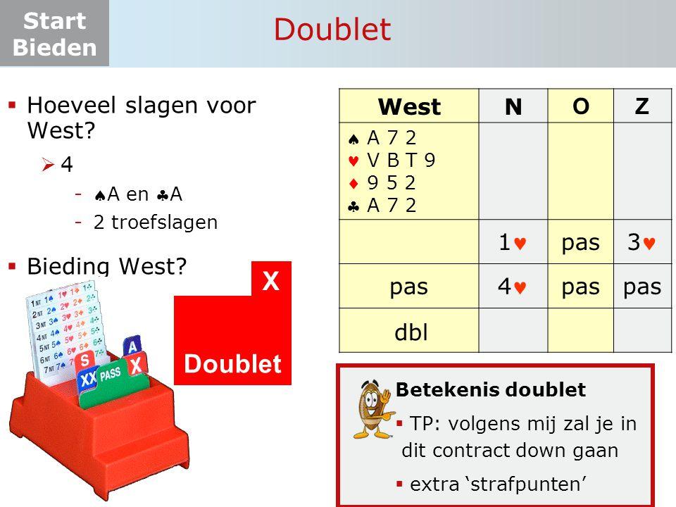 Doublet X Doublet Hoeveel slagen voor West Bieding West West N O Z