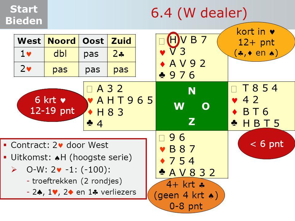 6.4 (W dealer) H V B 7 V 3 A V 9 2 9 7 6 ª   ♣ N W O Z ª A 3 2