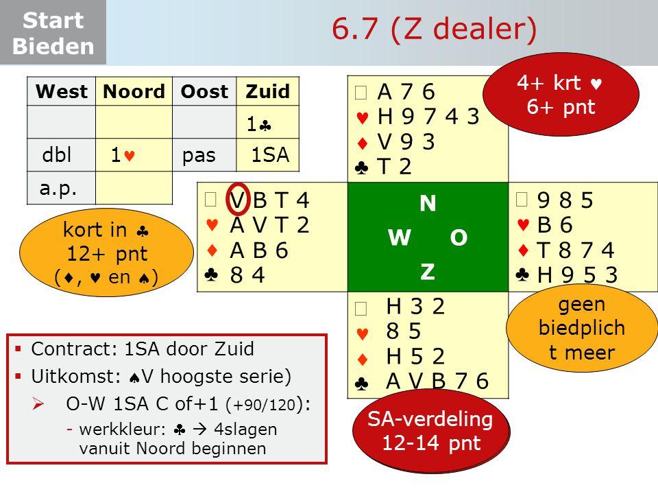 6.7 (Z dealer) ª   ♣ N W O Z ª A 7 6 H 9 7 4 3 V 9 3 T 2 V B T 4