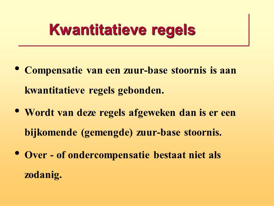 Kwantitatieve regels Compensatie van een zuur-base stoornis is aan kwantitatieve regels gebonden.