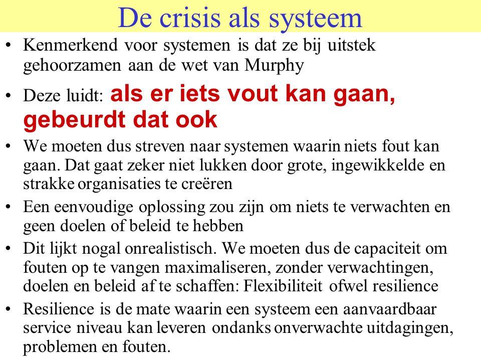 De crisis als systeem Kenmerkend voor systemen is dat ze bij uitstek gehoorzamen aan de wet van Murphy.
