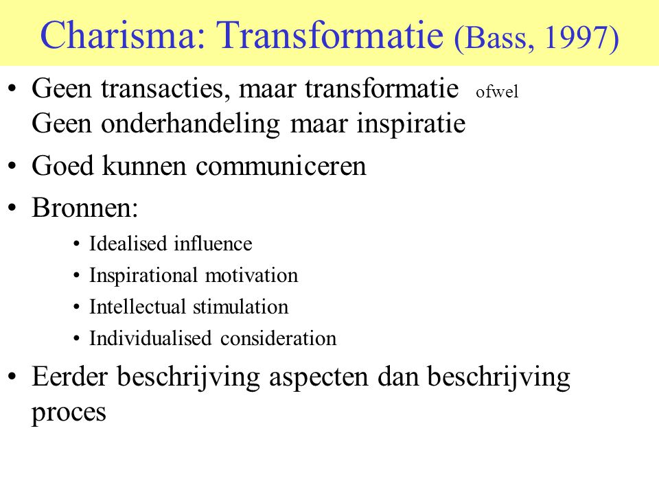 Charisma: Transformatie (Bass, 1997)