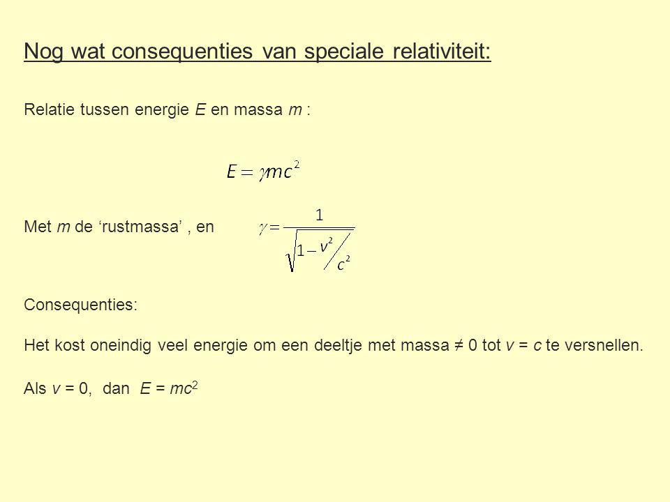 Nog wat consequenties van speciale relativiteit: