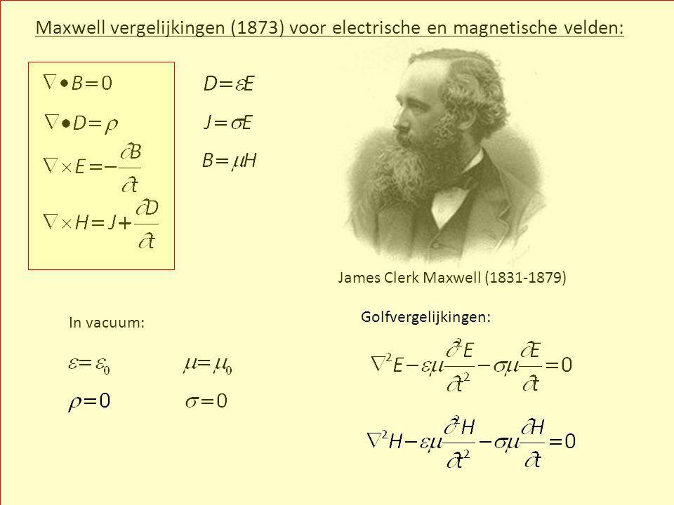 Maxwell vergelijkingen (1873) voor electrische en magnetische velden: