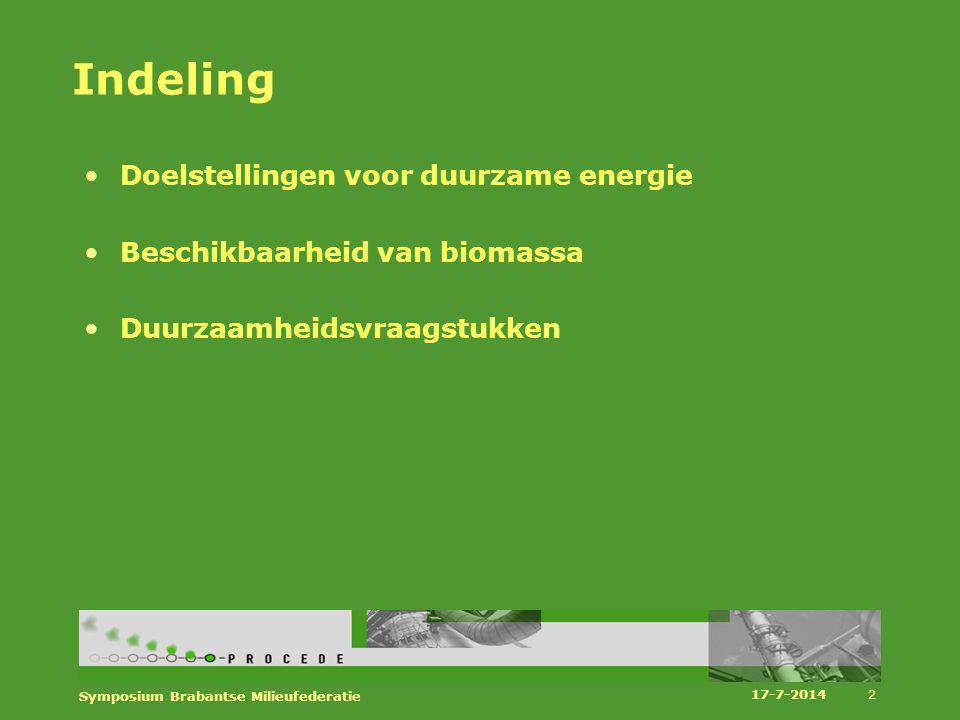 Indeling Doelstellingen voor duurzame energie