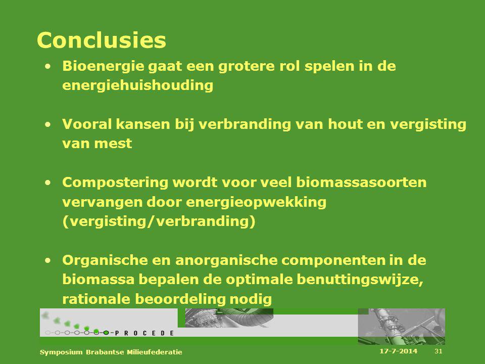 Conclusies Bioenergie gaat een grotere rol spelen in de energiehuishouding. Vooral kansen bij verbranding van hout en vergisting van mest.