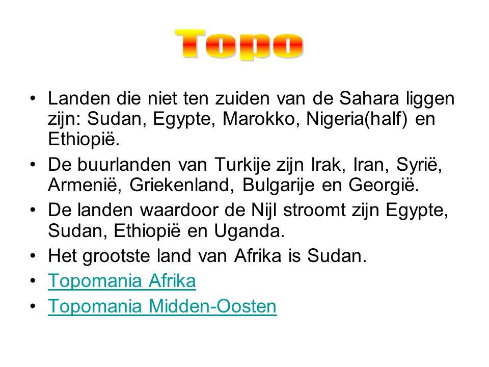Topo Landen die niet ten zuiden van de Sahara liggen zijn: Sudan, Egypte, Marokko, Nigeria(half) en Ethiopië.