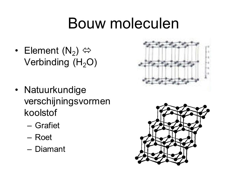 Bouw moleculen Element (N2)  Verbinding (H2O)