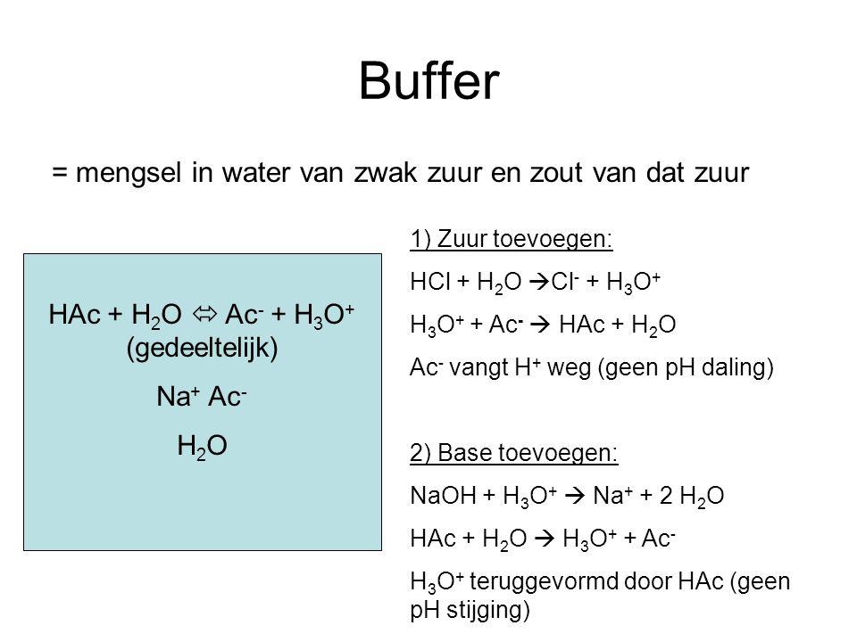 HAc + H2O  Ac- + H3O+ (gedeeltelijk)