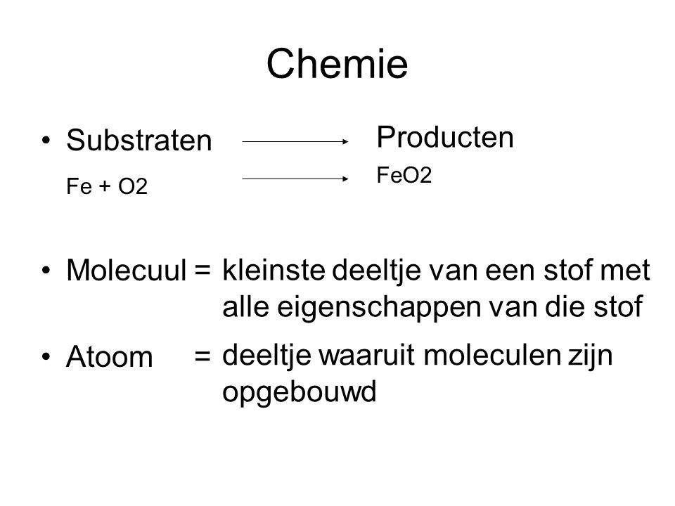 Chemie Producten Substraten Fe + O2 Molecuul = Atoom =