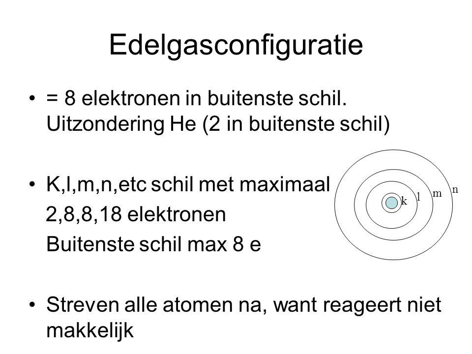 Edelgasconfiguratie = 8 elektronen in buitenste schil. Uitzondering He (2 in buitenste schil) K,l,m,n,etc schil met maximaal.