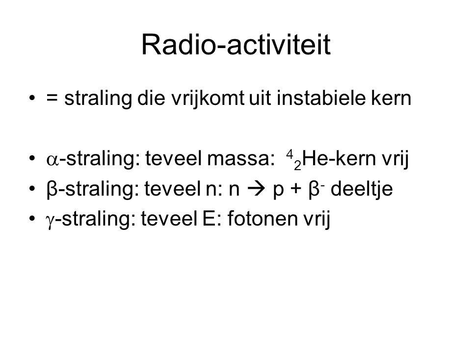 Radio-activiteit = straling die vrijkomt uit instabiele kern