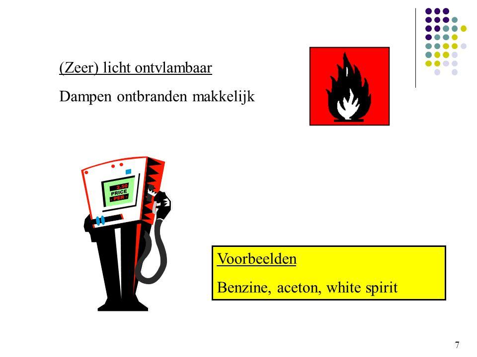 (Zeer) licht ontvlambaar Dampen ontbranden makkelijk