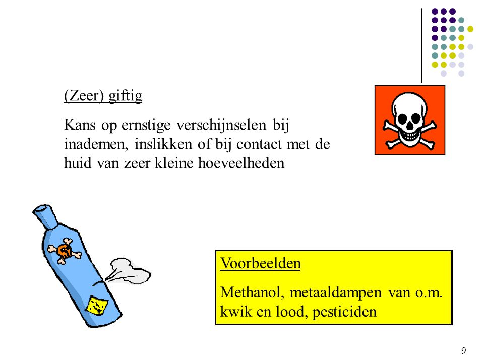 Methanol, metaaldampen van o.m. kwik en lood, pesticiden