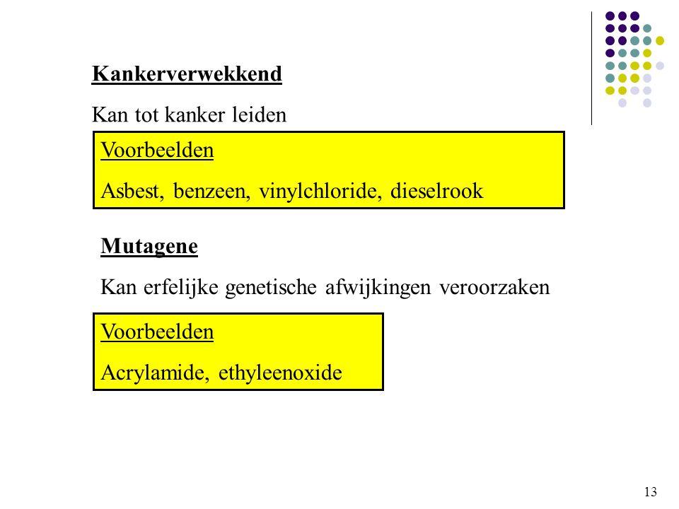 Asbest, benzeen, vinylchloride, dieselrook