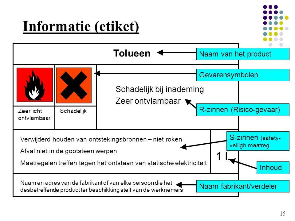 Informatie (etiket) 1 l. Tolueen Schadelijk bij inademing
