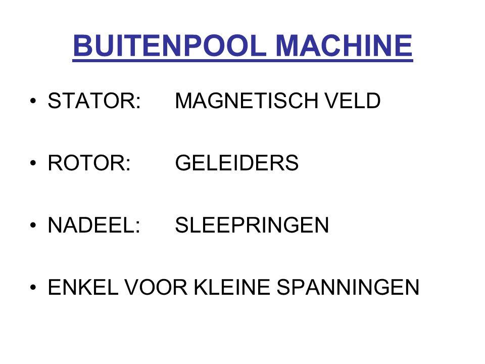 BUITENPOOL MACHINE STATOR: MAGNETISCH VELD ROTOR: GELEIDERS