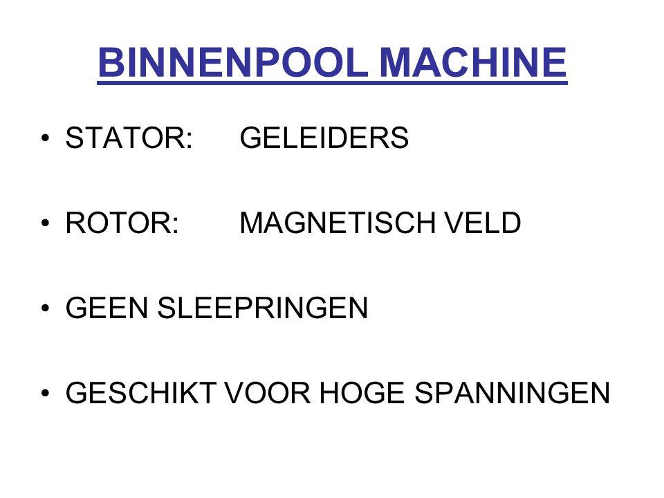 BINNENPOOL MACHINE STATOR: GELEIDERS ROTOR: MAGNETISCH VELD