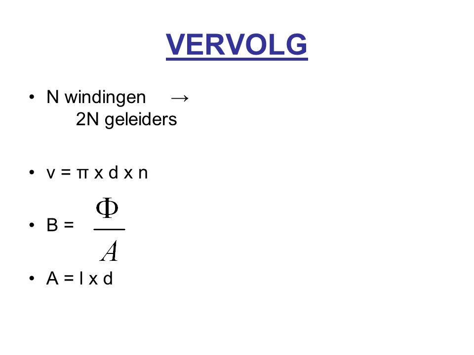 VERVOLG N windingen → 2N geleiders v = π x d x n B = A = l x d