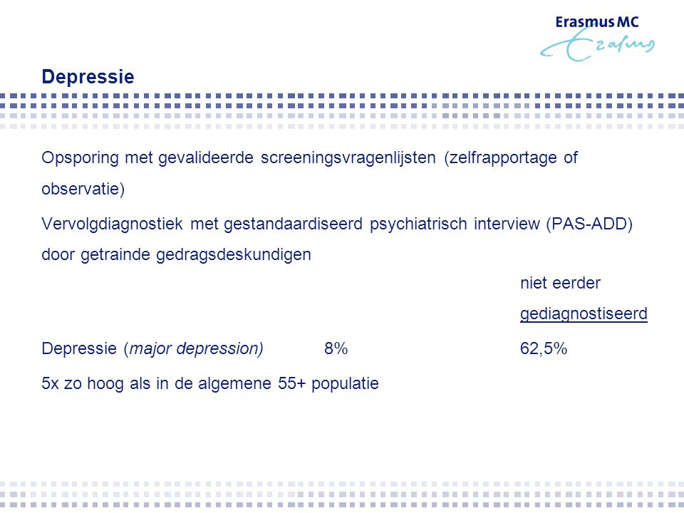 Depressie Opsporing met gevalideerde screeningsvragenlijsten (zelfrapportage of observatie)