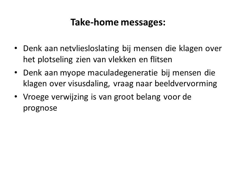 Take-home messages: Denk aan netvliesloslating bij mensen die klagen over het plotseling zien van vlekken en flitsen.