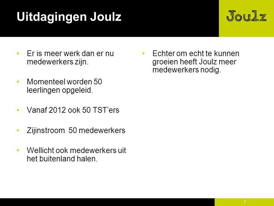 Uitdagingen Joulz Er is meer werk dan er nu medewerkers zijn.