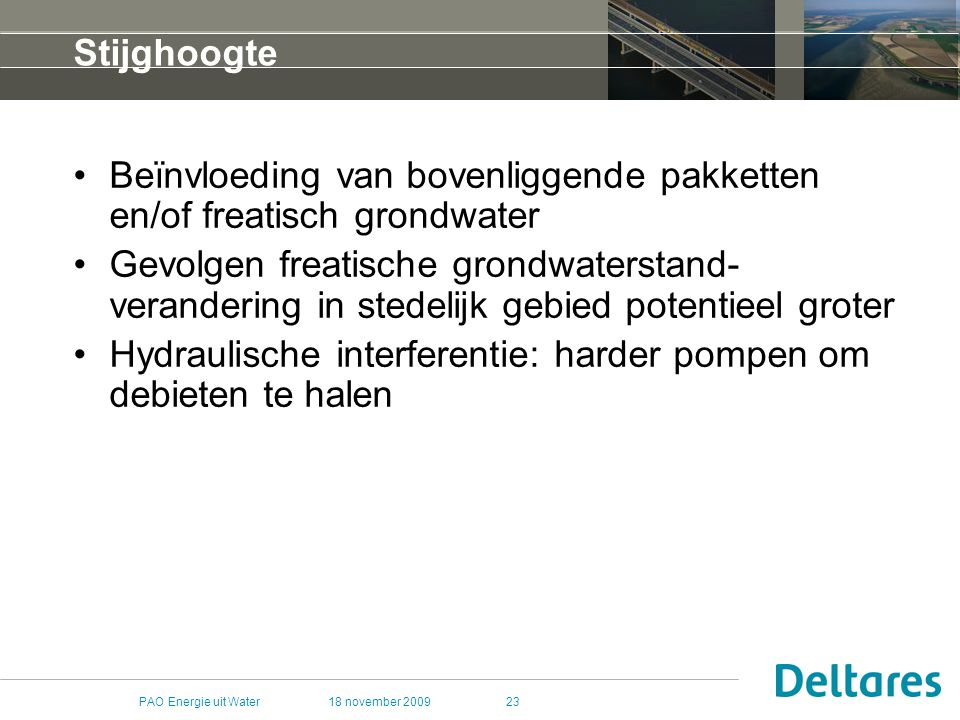 Beïnvloeding van bovenliggende pakketten en/of freatisch grondwater