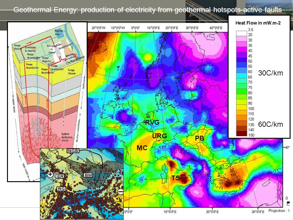 Geothermal Energy: production of electricity from geothermal hotspots-active faults