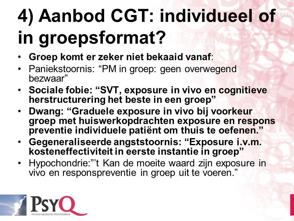 4) Aanbod CGT: individueel of in groepsformat
