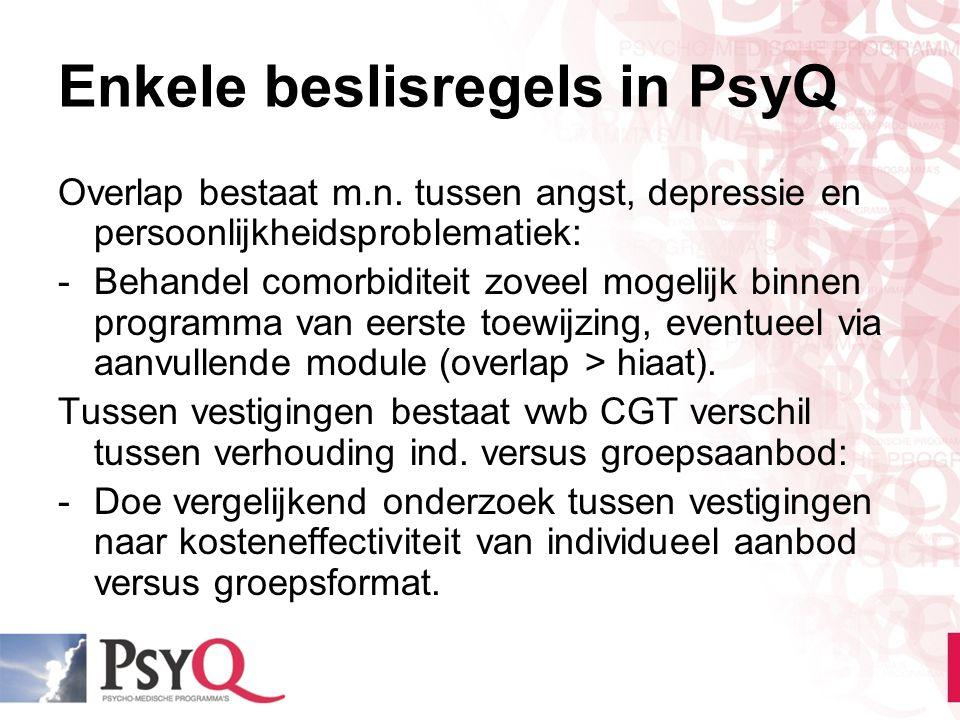 Enkele beslisregels in PsyQ