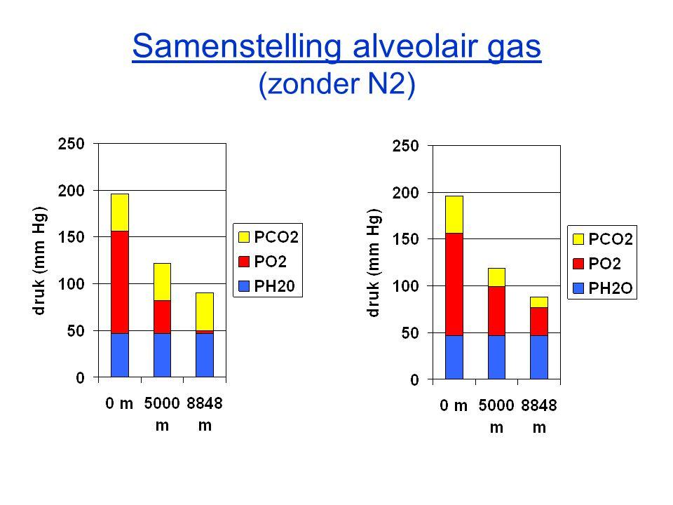 Samenstelling alveolair gas (zonder N2)